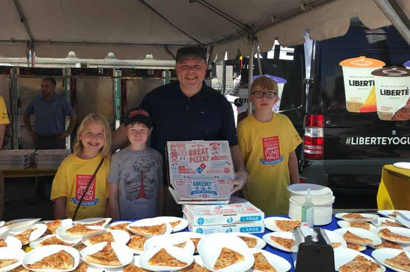 Bain Capital and Domino's Pizza Hand Out Pizza to Finishers at the Jimmy Fund Walk